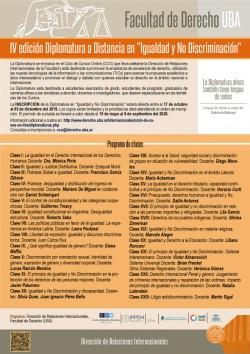 """IV Edición Diplomatura a Distancia en """"Igualdad y No Discriminación"""""""