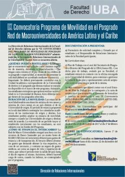 IX Convocatoria Programa de Movilidad en el Posgrado Red de Macrouniversidades de América Latina y el Caribe