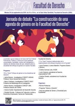 """Jornada de debate """"La construcción de una agenda de género en la Facultad de Derecho"""""""