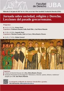 Jornada sobre sociedad, religión y Derecho. Lecciones del pasado grecorromano