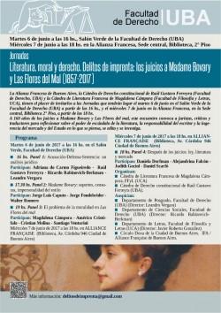 """Jornadas """"Literatura, moral y derecho. Delitos de imprenta: los juicios a Madame Bovary y Las Flores del Mal (1857-2017)"""""""