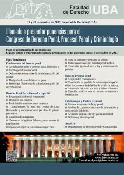 Llamado a presentar ponencias para el Congreso de Derecho Penal, Procesal Penal y Criminología