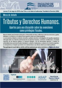 """Mesa de debate """"Tributos y Derechos Humanos: aportes para una discusión sobre las exenciones como privilegios fiscales"""""""