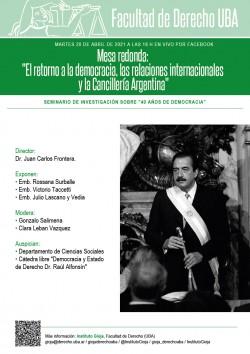 """Mesa redonda: """"El retorno a la democracia, las relaciones internacionales y la Cancillería Argentina"""""""