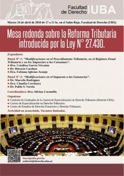 Mesa redonda sobre la Reforma Tributaria introducida por la Ley N掳27.430
