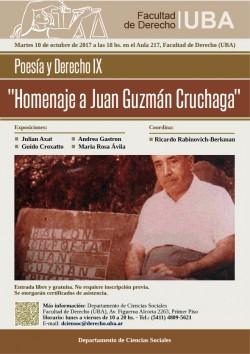 """Poesía y Derecho IX """"Homenaje a Juan Guzmán Cruchaga"""""""