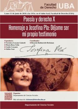 Poesía y derecho X - Homenaje a Josefina Pla: Déjame ser mi propio testimonio