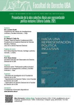 Presentación de la obra colectiva<i>Hacia una representación política inclusiva</i>. Editorial Eudeba, 2021.