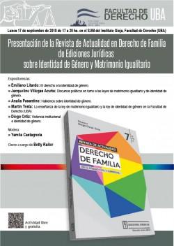 Presentación de la Revista de Actualidad en Derecho de Familia de Ediciones Jurídicas sobre Identidad de Género y Matrimonio Igualitario