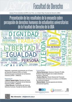 Presentación de los resultados de la encuesta sobre percepción de derechos humanos de estudiantes universitarios de la Facultad de Derecho de la UBA