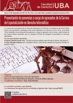 Presentación de ponencias a cargo de egresados de la Carrera de Especialización en Derecho Informático