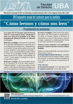 """Presentación de ponencias para el VII Encuentro anual de Lectores para la Justicia """"Cómo leemos y cómo nos leen"""""""