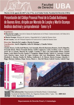 Presentación del <i>Código Procesal Penal de la Ciudad Autónoma de Buenos Aires</i>, dirigido por Marcela De Langhe y Martín Ocampo