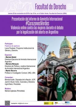 Presentación del informe de Amnistía Internacional #CorazonesVerdes. Violencia online contra las mujeres durante el debate por la legalización del aborto en Argentina