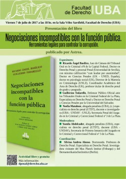 Presentación del libro <i>Negociaciones incompatibles con la función pública. Herramientas legales para controlar la corrupción</i>