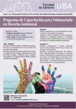 Programa de capacitación para voluntariado en Derecho Ambiental