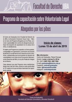 Programa de capacitación sobre Voluntariado Legal - Abogados por los pibes
