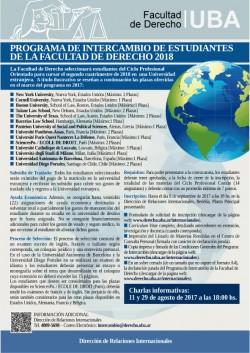 Programa de Intercambio de Estudiantes de la Facultad de Derecho 2018