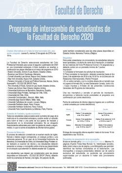 Programa de intercambio de estudiantes de la Facultad de Derecho 2020