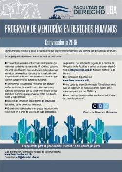 Programa de Mentorías en Derechos Humanos - Convocatoria 2019