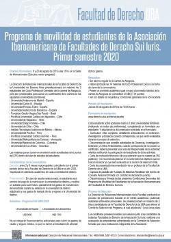 Programa de movilidad de estudiantes de la Asociación Iberoamericana de Facultades de Derecho Sui Iuris - Primer semestre 2020