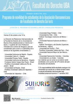 Programa de movilidad de estudiantes de la Asociación Iberoamericana de Facultades de Derecho Sui Iuris - Primer semestre 2022