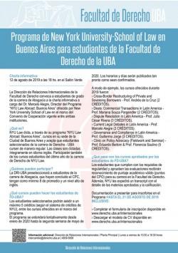 Programa de New York University-School of Law en Buenos Aires para estudiantes de la Facultad de Derecho de la UBA