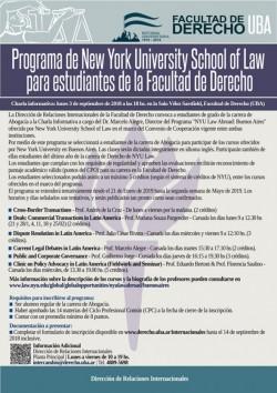 Programa de New York University School of Law para estudiantes de la Facultad de Derecho de la UBA