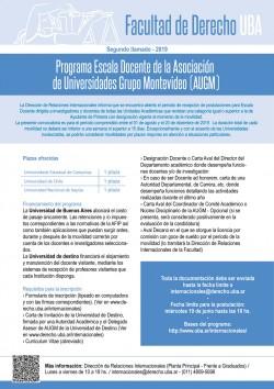 Programa Escala Docente de la Asociación de Universidades Grupo Montevideo (AUGM). Segundo llamado - 2019