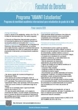 "Programa ""UBAINT Estudiantes"". Programa de movilidad académica internacional para estudiantes de grado de la UBA. Primer semestre 2020"