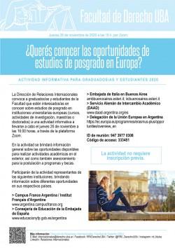 ¿Querés conocer las oportunidades de estudios de posgrado en Europa? Actividad informativa para graduados/as y estudiantes 2020