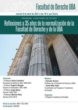Reflexiones a 35 años de la normalización de la Facultad de Derecho y de la UBA