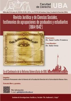 Revista Jurídica y de Ciencias Sociales, testimonios de agrupaciones de graduados y estudiantes (1884-1942)