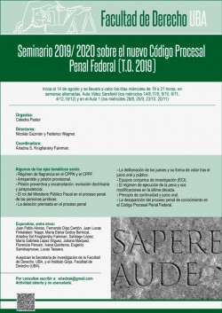 Seminario 2019/2020 sobre el nuevo Código Procesal Penal Federal (T.O. 2019)