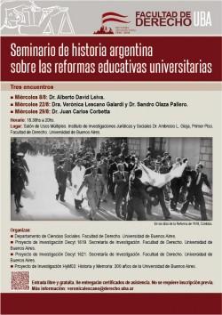 Seminario de historia argentina sobre las reformas educativas universitarias