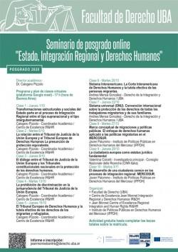 """Seminario de posgrado online """"Estado, Integración Regional  y Derechos Humanos"""""""