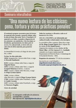 """Seminario intercátedras """"Una nueva lectura de los clásicos: pena, tortura y otras prácticas penales"""""""