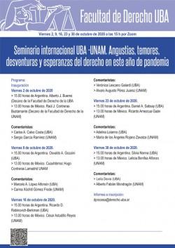 Seminario internacional UBA - UNAM. Angustias, temores, desventuras y esperanzas del derecho en este año de pandemia