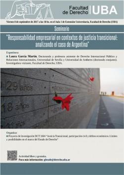 """Seminario """"Responsabilidad empresarial en contextos de justicia transicional: analizando el caso de Argentina"""""""