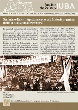Seminario-Taller I: Aproximaciones a la Historia argentina desde la Educación universitaria