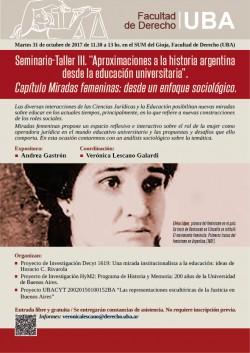 """Seminario-Taller III: """"Aproximaciones a la historia argentina desde la educación universitaria"""""""