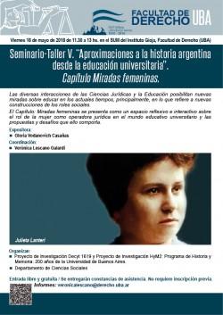Seminario - Taller V. Aproximaciones a la historia argentina desde la educación universitaria. Capítulo <i>Miradas femeninas</i>