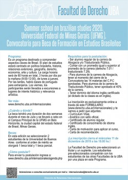 Summer school on brazilian studies 2020. Universidad Federal de Minas Gerais (UFMG). Convocatoria para Beca de Formación en Estudios Brasileños