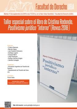 "Taller especial sobre el libro de Cristina Redondo, <i>Positivismo jurídico ""interno""</i> (Revus 2018)"