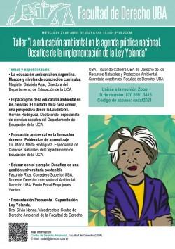 """Taller """"La educación ambiental en la agenda pública nacional. Desafíos de la implementación de la Ley Yolanda"""""""