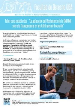 """Taller para estudiantes - """"La aplicación del Reglamento de la CNUDMI sobre la Transparencia en los Arbitrajes de Inversión"""""""
