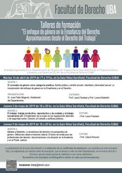 """Talleres de formación """"El enfoque de  género en la Enseñanza del Derecho. Aproximaciones desde el Derecho del Trabajo"""""""