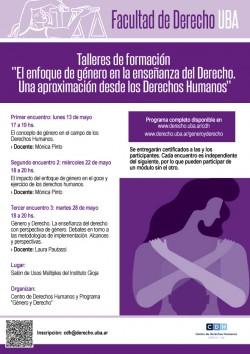 """Talleres de formación """"El enfoque de género en la enseñanza del Derecho. Una aproximación desde los Derechos Humanos"""""""