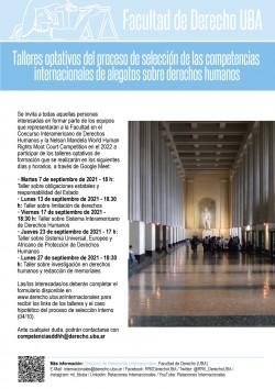 Talleres optativos del proceso de selección de las competencias internacionales de alegatos sobre derechos humanos