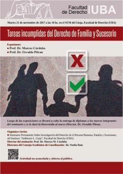 Tareas incumplidas del Derecho de Familia y Sucesorio